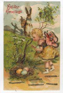 Easter Rabbit    Girl Child Eggs in Nest