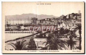 Old Postcard Cannes Harbor and Mount Knight