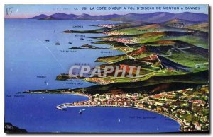 Old Postcard The French Riviera has Flight Bird Menton Cannes
