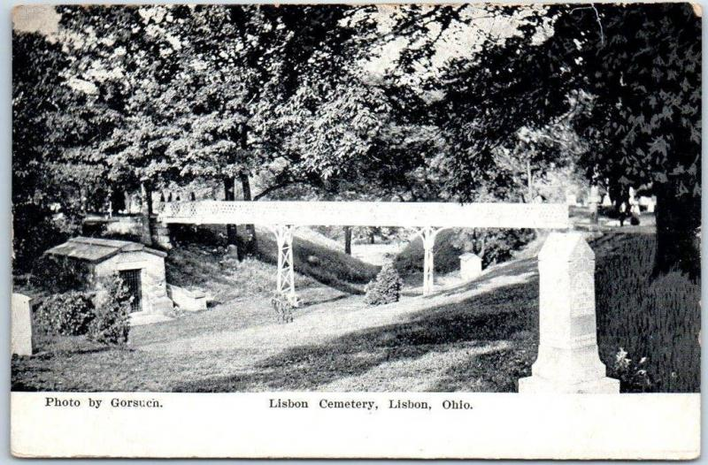 LISBON, Ohio Postcard LISBON CEMETERY Bridge / Tombstones Gorsuch c1910s Unused