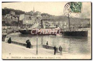 Old Postcard Trouville Harbor boat Depart Touques