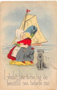 A75/ Die-Cut Stand-Up Valentine's Day Sailboat Dog Postcard 1916 Benjen Signed 4