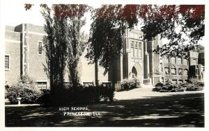 Princeton Illinois~Shade Trees @ High School~Real Photo Postcard c1937