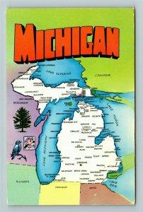 MI- Michigan, State Map, General Greeting, Water Wonderland, Chrome Postcard