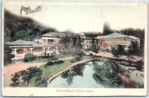 Vintage Nikko, JAPAN Postcard NIKKO HOTEL Buildings Gardens Lake HAND-COLORED