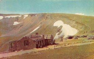Fall River Pass Museum & Shelter House Trail Ridge Road Colorado Postcard c1960s