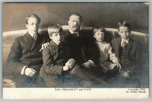 President Theodore Roosevelt~Quentin~Kermit~Jr~Archibald~1904 Hewitt Photo~RPPC