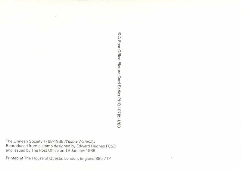 British stamp on postcard Edward Hughes 1988 Linnean society Yellow waterlily