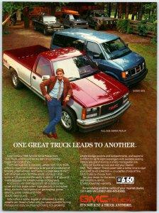 c1988 GMC Truck Sierra Pickup Safari Van  Print Ad