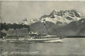 Steamship Simplon Lac Leman, France, Societe Graphique No. 1492,  RPPC
