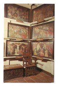 CA Mission San Gabriel Arcangel Stations of the Cross Paintings Lowman Postcard