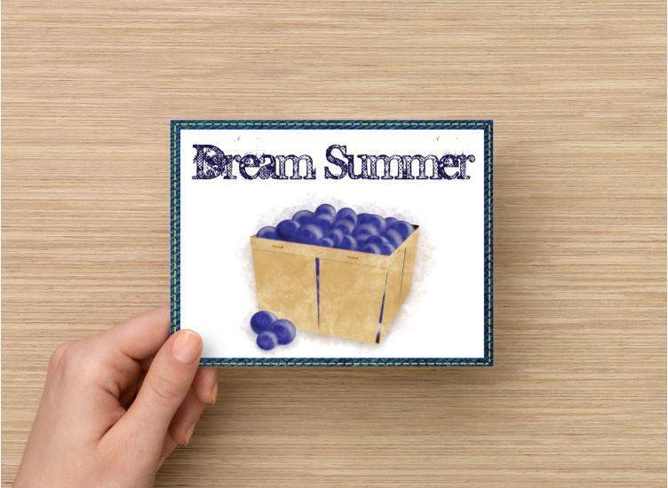 Set of 6 Digital Art Watercolor Blueberries All Occasion Handmade Postcards