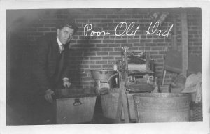 H10/ Interesting RPPC Postcard c1910 Poor Old Dad Washing Machine 30