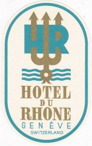 Switzerland Geneve Hotel Du Rhone Small Vintage Luggage Label sk4279