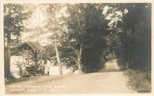 C-1920s Keyser Lake New Hampshire Drive around Lake RPPC real Photo 8518