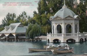 LOS ANGELES, California, 1900-1910s; Band Stand & Boat House, East Lake Park
