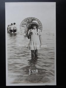 PAIGNTON & EXMOUTH Little Girl & Parasol Paddling Old RP PC by Vickery Bros 778