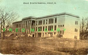 1913 Kent Ohio Postcard: Merrill Hall Amidst Construction Scene