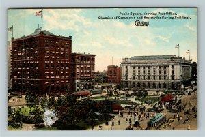 Cleveland OH-Ohio, Public Square, Post Office, Vintage Postcard
