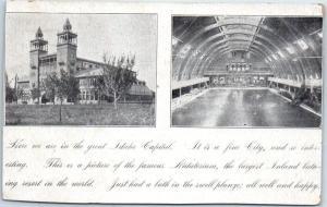 BOISE Idaho Postcard State Capitol Bldg / Natatorium Pool Interior c1900s UNUSED