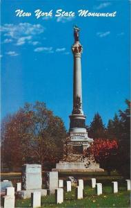 Gettysburg PA~New York State Civil War Monument~Lentz Gravestone~1950s Postcard