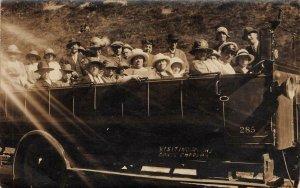 RPPC Visiting Gough's Caves, Cheddar, England UK ca 1920s Vintage Postcard