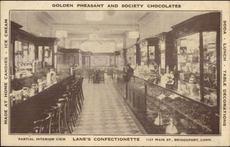 Bridgeport CT Lane's Confectionette Candy Store Soda Fountain c1910