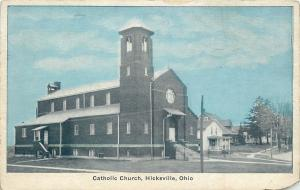Hicksville Ohio~Catholic Church~Neighborhood in Background 1920 Postcard