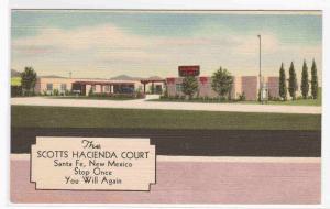 Hacienda Court Motel Santa Fe NM linen postcard