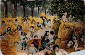 RARE  - LARGE GROUP OF BABIES  PLAYING IN THE HAY - VINTAGE - ANTIQUE POSTCARD