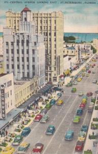 Florida St Petersburg Central Avenue Looking East 1958