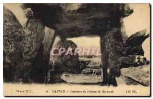 Old Postcard Dolmen Menhir Carnac Interior of the dolmen Kerloned