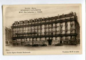 251549 FRANCE PARIS ADVERTISING Hotel SPLENDID LAFAYETTE OLD