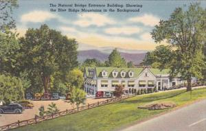 Virginia Natural Bridge Entrance Building Showing Blue Ridge Mountains In Bac...