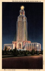 Louisiana Baton Rouge State Capitol Building At Night Curteich