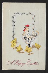 'Happy Easter' Chicks & Rooster Used c1909