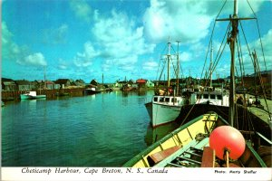 Cape Breton NS Canada Cheticamp Harbour Postcard unused 1960s