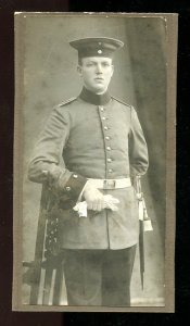 s01 - GERMANY 1910s Cabinet Photo.. Soldier with Sword. Sidearm