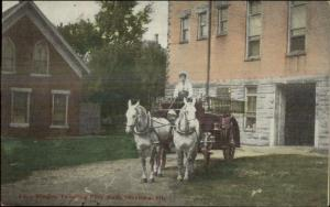 Sterling IL Fire Wagon Leaving City Hall c1910 Postcard