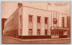Williamsport PA~Loyal Order of Moose Hall~Chrome Portico~Art Deco~1950 Sepia PC
