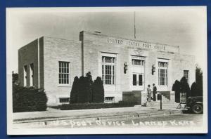 Larned Kansas ks US Post Office real photo postcard RPPC
