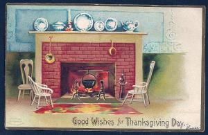 Thanksgiving Livingroom Fireplace A/S Clappsaddle used c1907