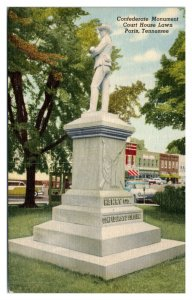 Confederate Monument, Court House Lawn, Paris, TN Postcard *5N(3)22