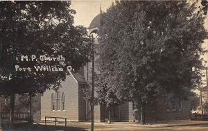 D29/ Port William Ohio Real Photo RPPC Postcard 1914 M.P. Church Building