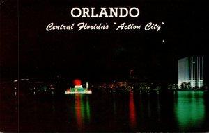 Florida Orlando Lake Eola and Centennial Fountain At Night