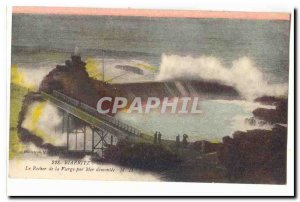 Biarritz Old Postcard The rock of the Virgin by sea disassembled