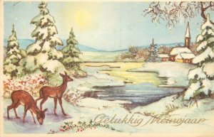 Postcard greetings Christmas New Year candle snowman bouquet bird carriage deer