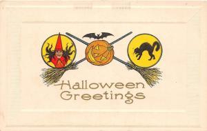 E14/ Halloween Holiday Postcard c1910 Witch Broom Jack-O-Lantern Bats Cat 14