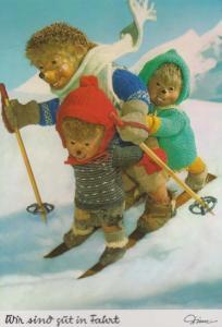 German Germany Teddy Bear Type Hedgehogs Ski Skiing On Snow Slopes Postcard