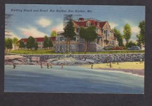 ME Beach Bar Harbor Hotel Maine Postcard Linen PC 1951